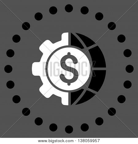 World Industry Finances vector icon. Style is bicolor flat circled symbol, black and white colors, rounded angles, gray background.