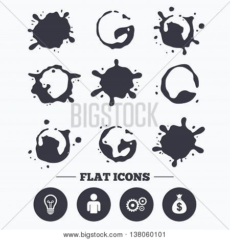 Paint, coffee or milk splash blots. Business icons. Human silhouette and lamp bulb idea signs. Dollar money bag and gear symbols. Smudges splashes drops. Vector