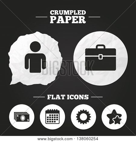 Crumpled paper speech bubble. Businessman icons. Human silhouette and cash money signs. Case and gear symbols. Paper button. Vector