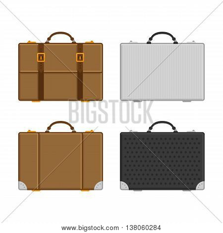 Vector illustration of a set of marching suitcases, luggage bags. Vector icons of luggage in a flat style.