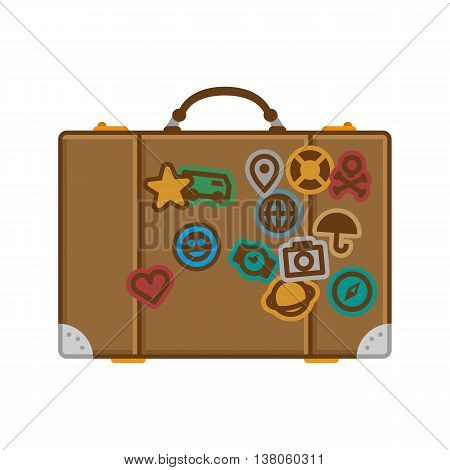 Vector illustration of a suitcase for your journeys in the labels from different countries. Vector suitcase icons with flat design.