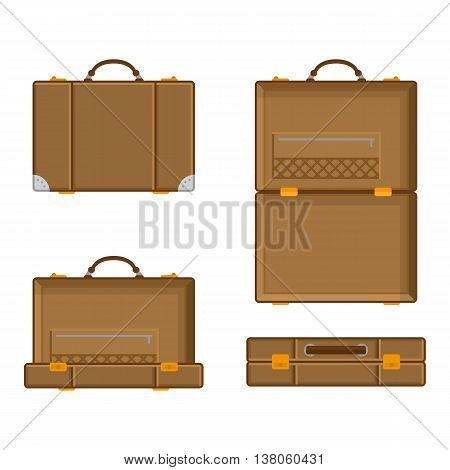 Vector illustration a suitcase with various parties in open and closed form. Luggage Icons brown suitcase in a flat style.