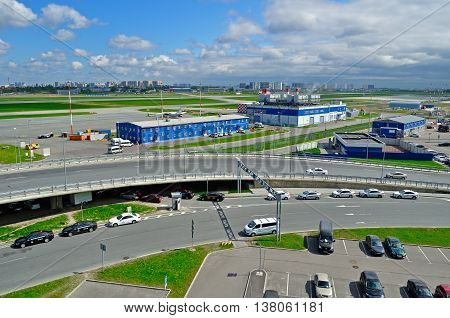 ST PETERSBURG RUSSIA - MAY 11 2016. View from height of airport auto crowded parking lot in Pulkovo International airport in St Petersburg Russia