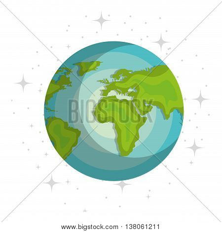 Plant of milky way galaxy, colorful isolated flat earth icon vector illustration graphic.