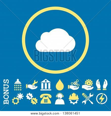 Cloud vector bicolor icon. Image style is a flat pictogram symbol inside a circle, yellow and white colors, blue background. Bonus images are included.