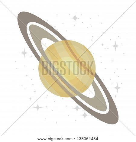 Plant of milky way galaxy, colorful isolated flat saturn icon vector illustration graphic.