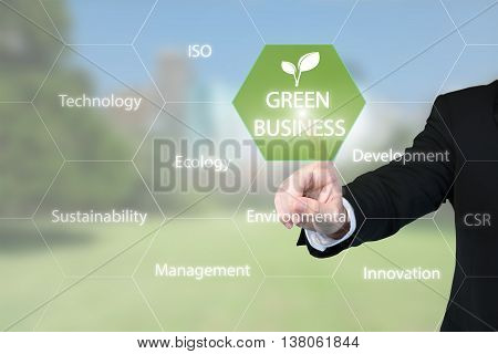 Green business concept - Business man working with virtual interface presentation of green business for sustainable development.
