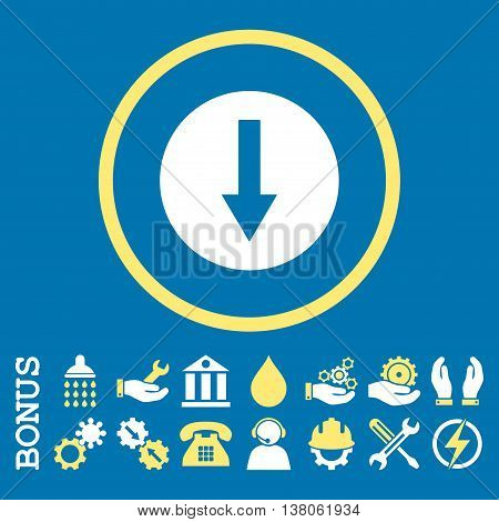Down Rounded Arrow vector bicolor icon. Image style is a flat pictogram symbol inside a circle, yellow and white colors, blue background. Bonus images are included.