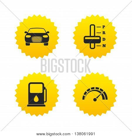 Transport icons. Car tachometer and automatic transmission symbols. Petrol or Gas station sign. Yellow stars labels with flat icons. Vector