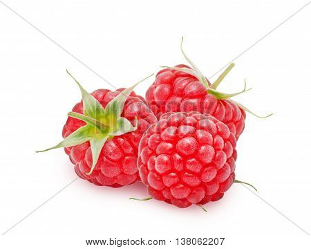 Three fresh ripe raspberry berries with stem isolated on white background. Design element for product label, catalog print, web use.