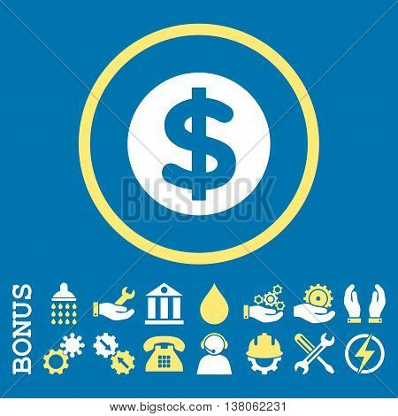 Finance vector bicolor icon. Image style is a flat pictogram symbol inside a circle, yellow and white colors, blue background. Bonus images are included.