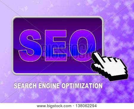 Seo Button Indicates Web Site And Click