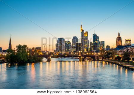 Frankfurt am main urban skyline with skyscrapers building at night in Frankfurt Germany