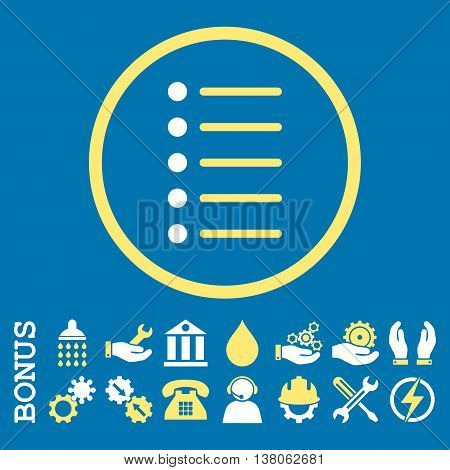 Items vector bicolor icon. Image style is a flat pictogram symbol inside a circle, yellow and white colors, blue background. Bonus images are included.