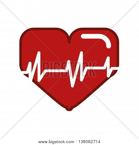 Bodybuilding concept represented by heart and cardio icon. Isolated and flat illustration