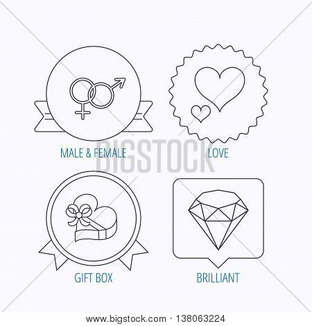 Love heart, gift box and brilliant icons. Male and female linear signs. Award medal, star label and speech bubble designs. Vector