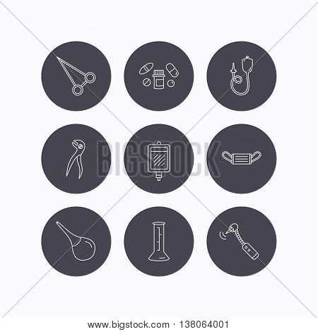 Medical mask, blood and dental pliers icons. Pills, drilling tool and clyster linear signs. Enema, lab beaker and forceps flat line icons. Flat icons in circle buttons on white background. Vector