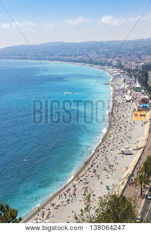 Aerial View Of Beach In City Of Nice, Cote D'azure, France