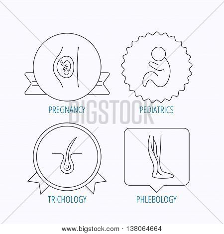 Pregnancy, pediatrics and phlebology icons. Trichology, vein varicose linear signs. Award medal, star label and speech bubble designs. Vector