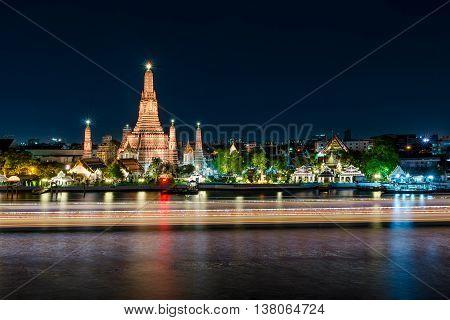 Wat arun at night in Bangkok Thailand. Famous place in Bangkok.