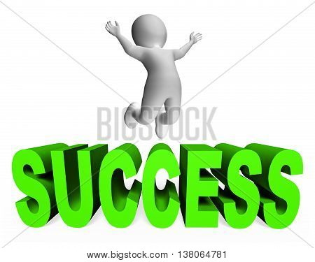 Success Character Shows Prevail Activity And Active 3D Rendering