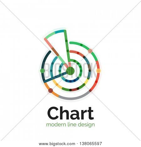 Thin line chart logo design. Graph icon modern colorful flat style. icon