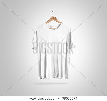 Blank white t-shirt front side view on hanger, design mockup, clipping path. Clear plain cotton tshirt mock up template. Apparel store logo branding display. Crew shirt surface hang on wood hanger