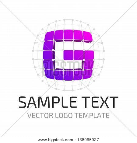 Vector logo template letter G. Icon stylized letter G in the framing grid.