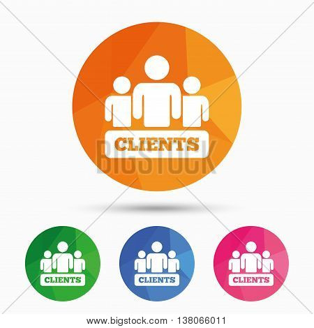 Clients sign icon. Group of people symbol. Triangular low poly button with flat icon. Vector
