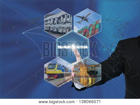 Transportation network concept - Businessman working with virtual interface Transportation icon on transportation network concept backgroundElements of this image furnished by NASA.