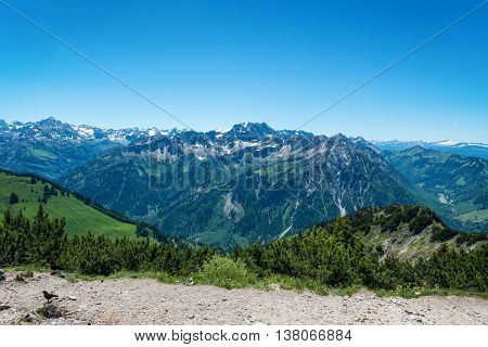 View from Iseler Moutain towards the Alps with a view of the Hochvogel Mountain and the Nebelhorn, Germany