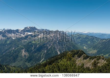 View from Iseler Moutain towards the Alps with a view of the Nebelhorn and Grosser Daumen Mountain, Germany