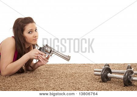 Woman Pointing Gun At Weights Serious