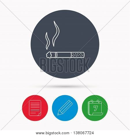 Smoking allowed icon. Yes smoke sign. Calendar, pencil or edit and document file signs. Vector