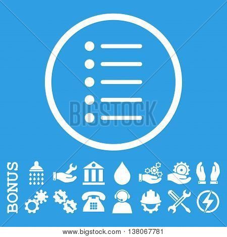 Items vector icon. Image style is a flat pictogram symbol inside a circle, white color, blue background. Bonus images are included.