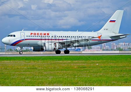 ST PETERSBURG RUSSIA - MAY 11 2016. VP-BIT Rossiya Airlines Airbus A319 airplane closeup view. Airplane rides on the runway after arrival at Pulkovo airport in St Petersburg Russia