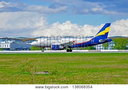 ST PETERSBURG RUSSIA - MAY 11 2016. VP-BBU Donavia Airbus A319-111 airplane closeup view. Airplane rides on the runway after landing in Pulkovo International airport in St Petersburg Russia