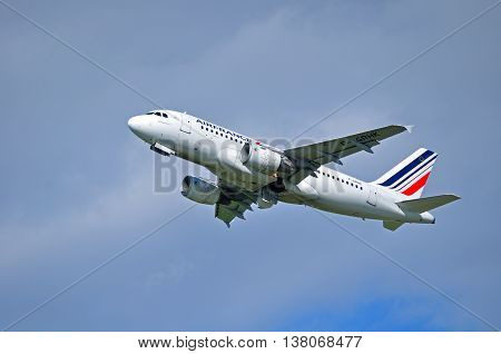 ST PETERSBURG  RUSSIA - MAY 11 2016. F-GRHK Air France Airbus A319 airplane closeup view. Airplane is flying in the sky after departure from Pulkovo International airport in St Petersburg