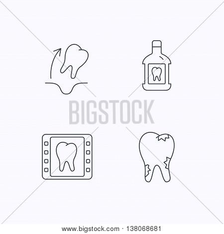Tooth extraction, caries and mouthwash icons. Dental x-ray linear sign. Flat linear icons on white background. Vector