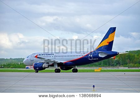 ST PETERSBURG RUSSIA - MAY 11 2016. VP-BQK Donavia Airbus A319-111 airplane closeup. Airplane rides on the runway after landing in Pulkovo International airport in St Petersburg