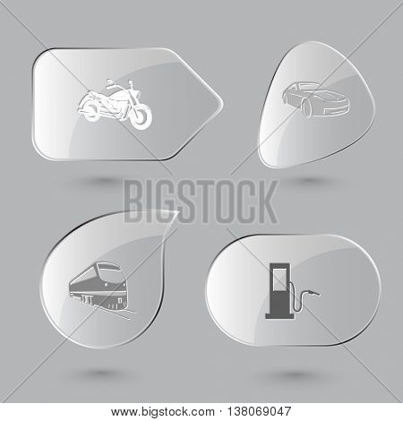 4 images: motorcycle, car, train, fueling station. Transport set. Glass buttons on gray background. Vector icons.