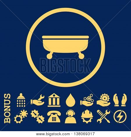 Bathtub vector icon. Image style is a flat pictogram symbol inside a circle, yellow color, blue background. Bonus images are included.