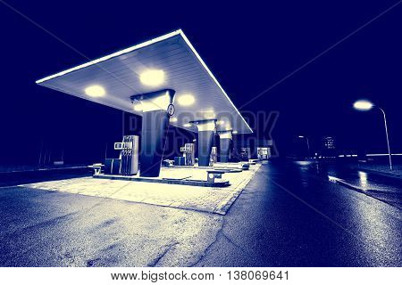 Night view of the territory of the gas station.