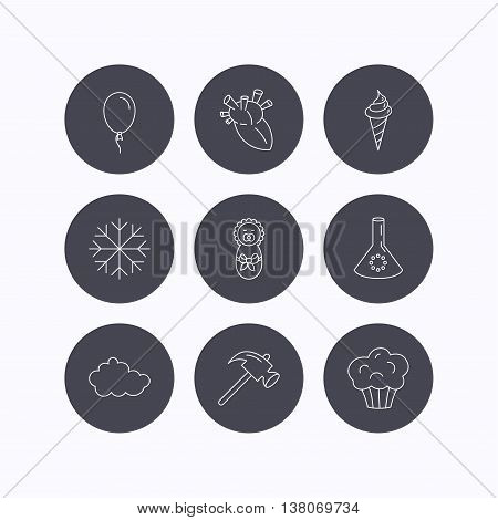 Newborn, heart and lab bulb icons. Ice cream, muffin and air balloon linear signs. Cloud and snowflake flat line icons. Flat icons in circle buttons on white background. Vector
