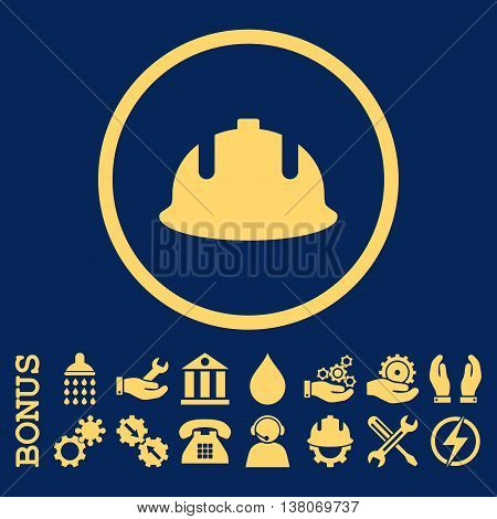 Construction Helmet vector icon. Image style is a flat pictogram symbol inside a circle, yellow color, blue background. Bonus images are included.