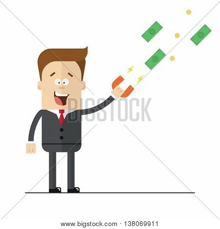 Businessman with a magnet to attract money. Isolated illustration on white background . Flat image.
