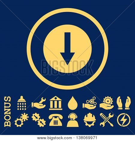Down Rounded Arrow vector icon. Image style is a flat pictogram symbol inside a circle, yellow color, blue background. Bonus images are included.