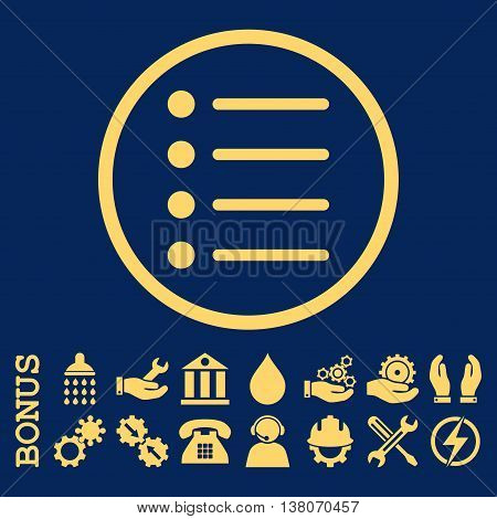 Items vector icon. Image style is a flat pictogram symbol inside a circle, yellow color, blue background. Bonus images are included.