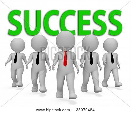 Success Businessmen Means Winning Executive And Victorious 3D Rendering