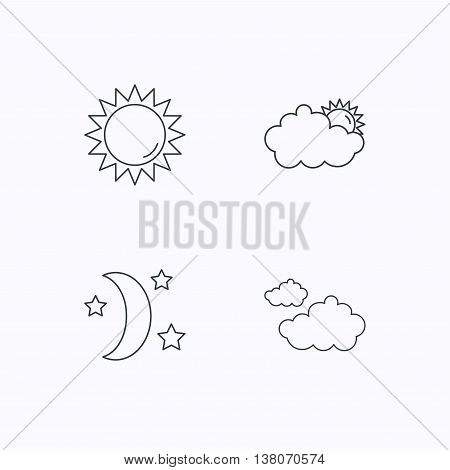 Weather, sun and cloudy icons. Moon night linear sign. Flat linear icons on white background. Vector